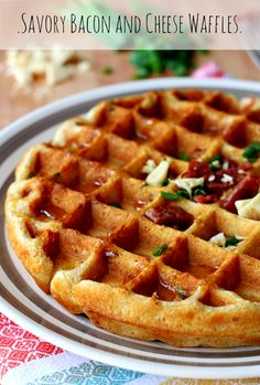 Savory Bacon and Cheese Waffles Recipe - sweet waffle batter with savory bacon and cheese is truly a match made in breakfast heaven! Protein and whole grains packed thanks to Kodiak Cakes waffle mix! Bacon Waffles, Cheese Waffles, Savory Waffles, Savory Breakfast, Breakfast Dishes, Breakfast Recipes, Breakfast Time, Pancake Recipes, Bacon Recipes