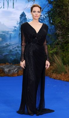 Angelina Jolie in Atelier Versace at the London Maleficient premier 2014