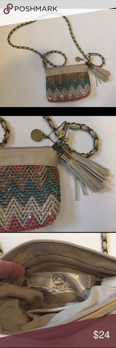 "Big Buddha Mini Crossbody Big Buddha Women's Crossbody Bag Chevron Tribal Sequins Turquoise/Beige/Coral Chain Tassels  Condition: excellent pre-owned condition, no flaws.  7.5"" x 5.5"" Big Buddha Bags Crossbody Bags"