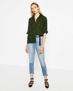Image 1 of OVERSIZED EMBROIDERED SHIRT from Zara