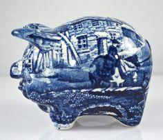 Vintage Figural Blue Transferware Pig Piggy Bank English Village by James Kent Hard to Find Penny Bank, English Village, This Little Piggy, Blue And White China, Hand Painted, Painted Porcelain, Piggy Banks, Bridge, Horse