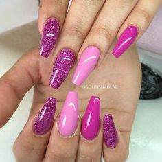 neon pink and white coffin nails glitter ombr spring summer 2016 nail art what i love. Black Bedroom Furniture Sets. Home Design Ideas