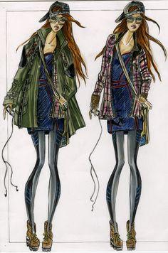 Military Inspired Sportswear - Illustrated by Kristina Keurjikian