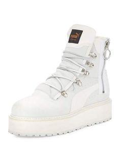 FENTY PUMA by Rihanna Leather Platform Sneaker Boot, White