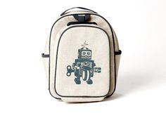 Grey Robot Toddler Backpack $44.30 #karmakiss #unique #gifts #kids