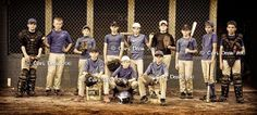 baseball picture ideas, this is a cool picture, all the boys after practice in a casual pose! Love it I can't wait until baseball season starts.