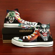 7918f7a6ca98 Mens Black Converse Batman Joker Hand Painted High Top Canvas Shoes