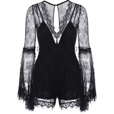 See-Through V Neck Lace Romper Black (€25) found on Polyvore featuring women's fashion