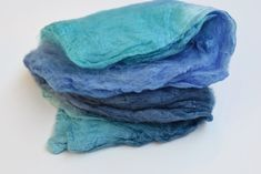 Silk Hankies for spinning & felting hand dyed Blue Mix 12273 Nuno Felting, Mulberry Silk, Fiber Art, Spinning, Squares, Throw Pillows, Knitting, Blue, Hand Spinning
