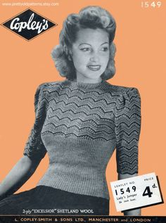Amazing 1940s Jumper Tight Ribbing and от PrettyOldPatterns