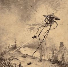 "Some illustrations from H. G. Wells' ""The War of the Worlds"" by Brazilian artist Henrique Alvim Corrêa.  These all date back to 1906."