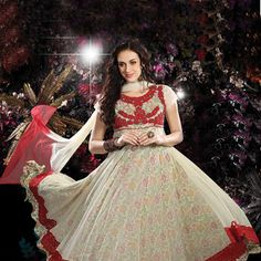 Off White Net and Faux Chiffon Readymade Kameez with Legging