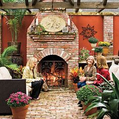 Glowing Outdoor Fireplace Ideas: Vintage Brick Outdoor Fireplace