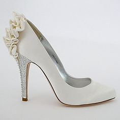 Kirsten designer wedding shoes designed by Bourne of London.  A classic pump is taken to glamorous new heights with total fashion flair. Ruffle back, crystal heel.  Find your style at Perfect Details