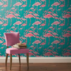 Pink flamingos on teal background wallpaper - just ordered a sample of this!