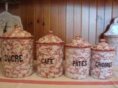 Vintage Enamel ware ほうろう・キャ二スター 白×赤マーブル