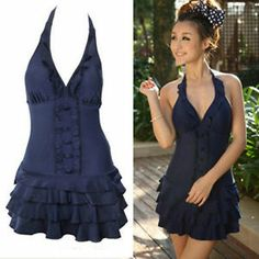 New Women Sexy Deep V Ruffle Halter One Piece Plus size Swimsuit Swimwear Dress