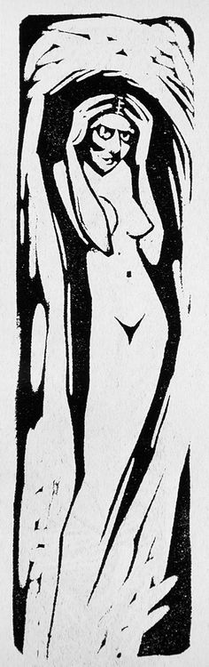Jerzy Hulewicz (Poland 1886 - 1940), Nude, 1918, woodcut. Image size 7 3/4 x 2 3/16 inches. Robert Gore Rifkind Ctr for German Expressionist Studies at LACMA.