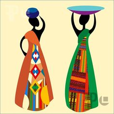 Illustration of Traditional african women silhouettes illustration