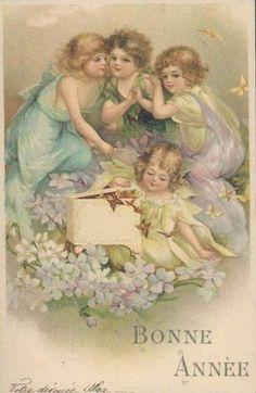 Cartes anciennes voeux de Nouvel An