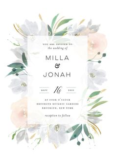 """Grande Botanique"" wedding invitation design by Minted artist Bonjour Paper. Modern floral design for Spring or Summer weddings. The new 2018 Minted wedding invitation collection is out now."