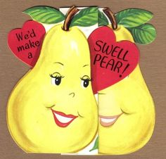 Valentine's Day Cards | Vintage Valentines Card ANTHROPOMORPHIC Yellow Pears | Yellow Sunshine
