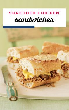 Shredded Chicken Sandwiches – Ready in less than 30 minutes time, chicken thighs take their cue (or is it BBQ?) from pork and get fork-tender, shredded and piled onto a crunchy sandwich roll with a topping of KRAFT Singles! Crockpot Recipes, Great Recipes, Dinner Recipes, Cooking Recipes, Favorite Recipes, Cheese Recipes, Pork Recipes, Appetizer Recipes, Recipies