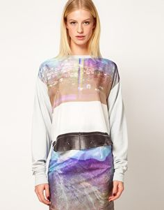 Louise Amstrup Printed Sweat in Silk Jersey