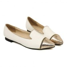 Casual Style Zipper Embellishment and Color Matching Design Women's Flat Shoes