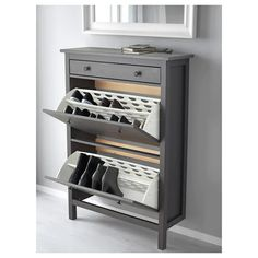 shoe storage entryway HEMNES Shoe cabinet with 2 compartments - dark gray gray stained - IKEA Shoe Dresser, Ikea Hemnes Shoe Cabinet, Shoe Cabinet Entryway, Entryway Shoe Storage, Ikea Entryway, Shoe Cabinet Design, Shoe Storage In Living Room, Shoe Closet Organization, Small Shoe Cabinet