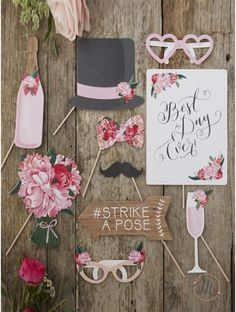 Prop ideas: She said yes They're meant to be  Congrats Kyle & Sabrina Yay! Future mrs Future mr  Crown   Kiss lips   Heart eye sunglasses   Bow tie  Tall   Flower bouquet