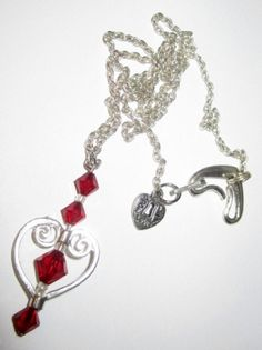 Swarovski Rich Red Crystal & Silver Heart by HeartsAndButterfly, $18.95