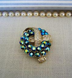 BLUE Aurora Borealis RHINESTONE BROOCH w Florentine Gold Tone Vintage Costume Jewelry Pin on Etsy $21.99 by pegi16