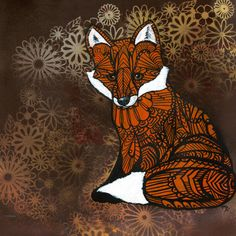Zentangle Fox Art Print  Archives Limited Edition par MayhemHere