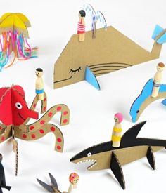 DIY Peg Dolls with Cardboard Sea Creatures: Check out the other animal and vehicle templates too! Great Tutorial for the Peg Dolls and Free Printable Templates From Mr Printables. Cardboard Animals, Paper Animals, Cardboard Art, Cardboard Playhouse, Cardboard Crafts Kids, Cardboard Furniture, Playhouse Furniture, Wooden Crafts, Kids Crafts