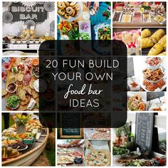 Party food bars 20 Fun Build Your Own Food Bar Ideas Intentional Hospitality - Food and drink Birthday Dinner Menu, Birthday Lunch, Dinner Party Menu, Birthday Dinners, Party Menu Ideas, Party Food Themes, Potluck Ideas, Brunch Party, Dinner Parties