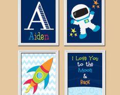 I Love You to the Moon & Back Boy Wall Art Nursery by TRMdesign