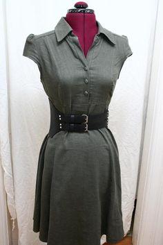 Audra Jean Double Buckle Black Leather Elastic Waist Cincher Belt