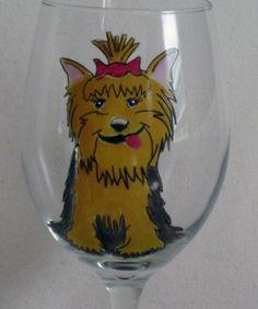 Miss Yorkie Wine Glass by janjackson on Etsy, $16.00