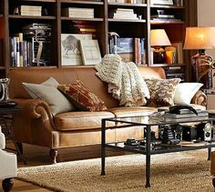 Brooklyn Leather Sofa #potterybarn.  Two of these facing each other by the fire plae?