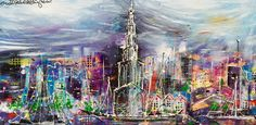 """""""Sizzling Grun"""" 80 x 160 cm. www.erikzwezerijnen.com Robot Painting, Skyscrapers, Cityscapes, Abstract Art, Artwork, New York City, Picture Wall, Canvases, Abstract"""