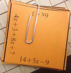 tarsia combining simplifying like terms puzzle Algebra Lessons, Algebra Activities, Math Lesson Plans, Algebra 1, Math Resources, Math Games, Math Teacher, Math Classroom, Teaching Math