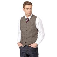 Big and tall designer brown wool blend herringbone waistcoat - Debenhams.com