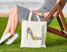 Cotton Tote Bags, Eco Friendly, High Heels, Etsy Shop, Trending Outfits, Unique Jewelry, Handmade Gifts, Check, Shopping