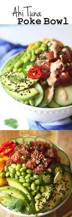 Hawaiian Style Homemade Poke Bowls are loaded with the freshest citrus ponzu flavored Ahi tuna, rice, cucumbers, avocado, edamame and mango. A drizzle of sriracha sauce and macadamia nuts for crunch a (Ahi Tuna Recipes) Tuna Recipes, Seafood Recipes, Asian Recipes, Dinner Recipes, Cooking Recipes, Healthy Recipes, Paleo Dinner, Poke Sauce Recipes, Cooking Tips