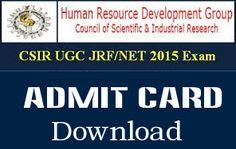 UGC NET December 2015 Admit Card Download