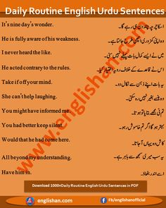 English Learning Books, English Learning Spoken, English Reading, Teaching English, English To Urdu Dictionary, English Phrases, English Quotes, English Grammar, Basic English Sentences