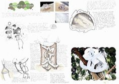 As with much of the sculpture and 3D Design work featured in this article, this Design and Technology page by Georgia Shattky shows the ideal relationship between drawings and sculptural form. Three-dimensional investigations feed two-dimensional drawings, which in turn inspire further investigations in 3D form. The bottom right image also shows a sculptural form digitally superimposed into a real-world environment; an exciting strategy for architectural and 3D Design students to explore.