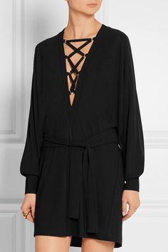 Balmain | Lace-up black stretch-crepe mini dress | NET-A-PORTER.COM