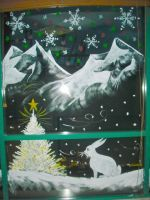 Bunny, tree, mountains by Window-Painting